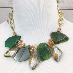Green Agate Crystal Glass Statement Necklace